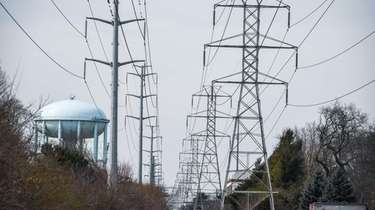 LIPA power lines along Motor Lane in Bethpage,