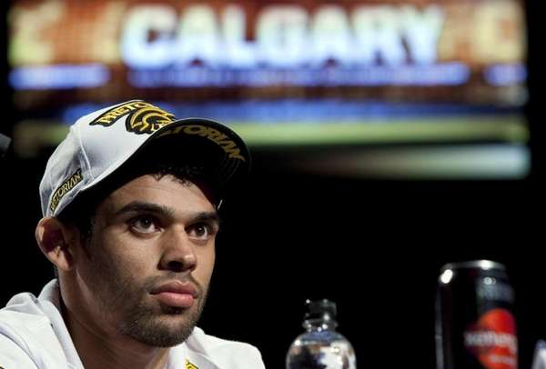 Renan Barao attends the pre-fight UFC 149 news