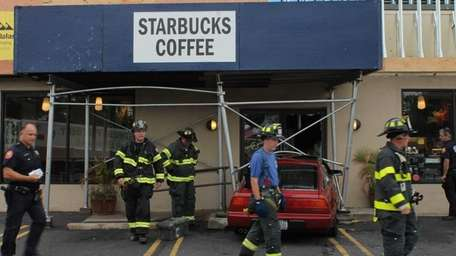 A car crashed into a Starbucks coffee shop