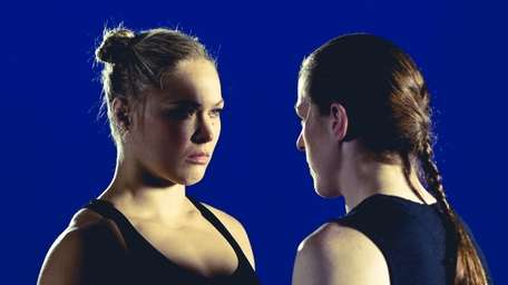 Ronda Rousey, left, at a photo shoot to