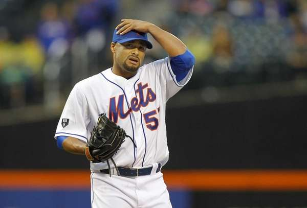 Johan Santana stands on the mound in the