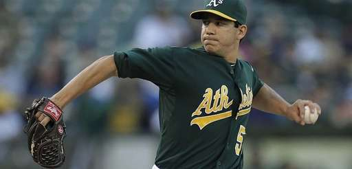 Oakland Athletics pitcher Tommy Milone works against the