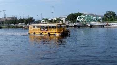 A Pirate Water Taxi travels up the Hillsborough