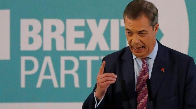 Brexit party leader Nigel Farage speaks during an