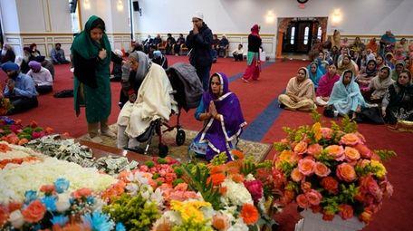 Sikhs gathered at the Guru Gobind Sikh Center