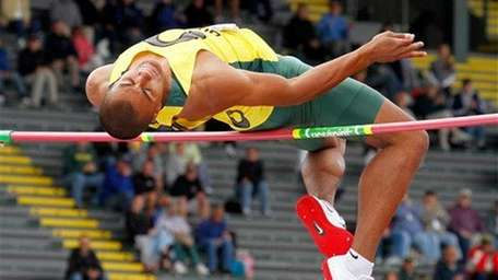 Ashton Eaton competes in the decathlon during the