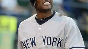 Robinson Cano reacts after striking out in the