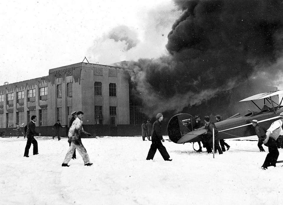 February 14, 1933: General view of fire in