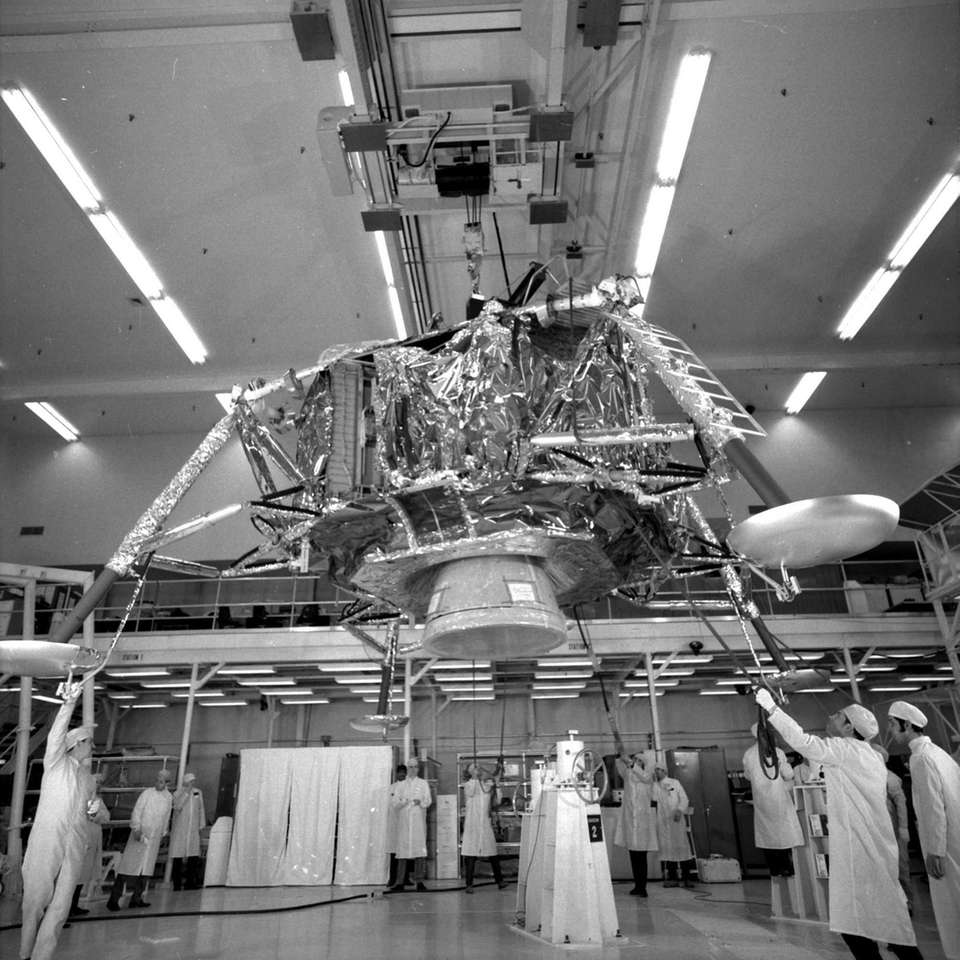 1969: Technicians at Grumman in Bethpage build the