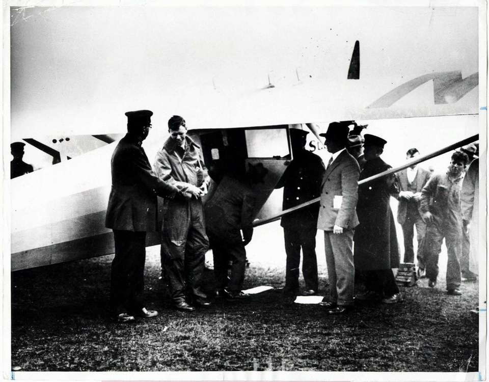 Ca. 1927: Charles Lindbergh (second from left) and