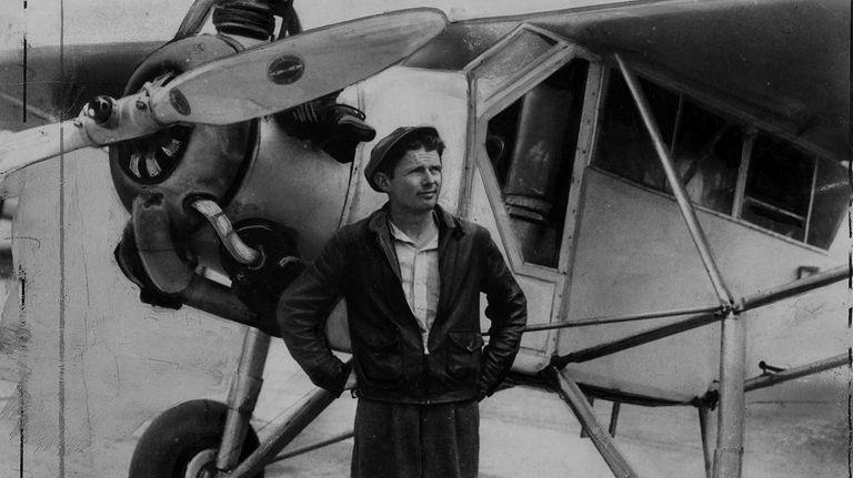 1938: Douglas (WrongWay) Corrigan stands next to plane