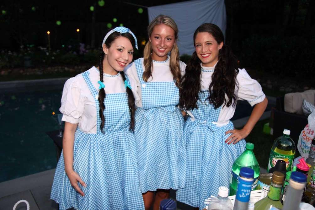 Three women dressed as Dorothy from