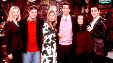"Cast of ""Friends"" (left-to-right): Lisa Kudrow, Matthew Perry,"