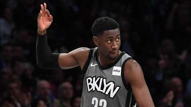 Brooklyn Nets guard Caris LeVert reacts after he