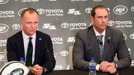 Jets chairman Christopher Johnson (L) and coach Adam