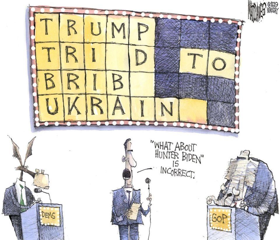 Matt Davies cartoon about Trump, Biden and