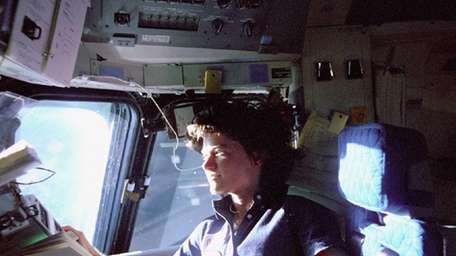 Astronaut Sally Ride, a specialist on shuttle mission