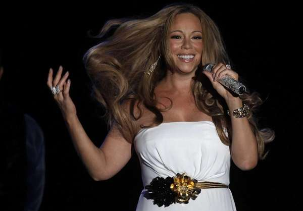 Mariah Carey performs during a concert in Monaco.