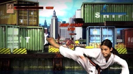 Stephanie Woodburn, age 11, puts her karate skills
