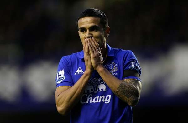Everton's Tim Cahill reacts after a missed opportunity