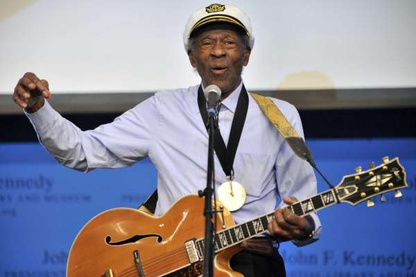 Musician Chuck Berry plays