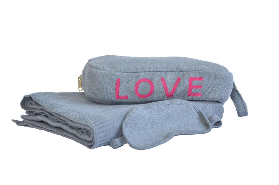 The coziest cashmere travel set includes eye mask,
