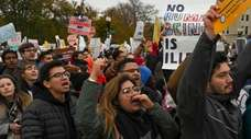 Demonstrators gathered in front of the United States