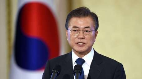 South Korean President Moon Jae-in speaks during a