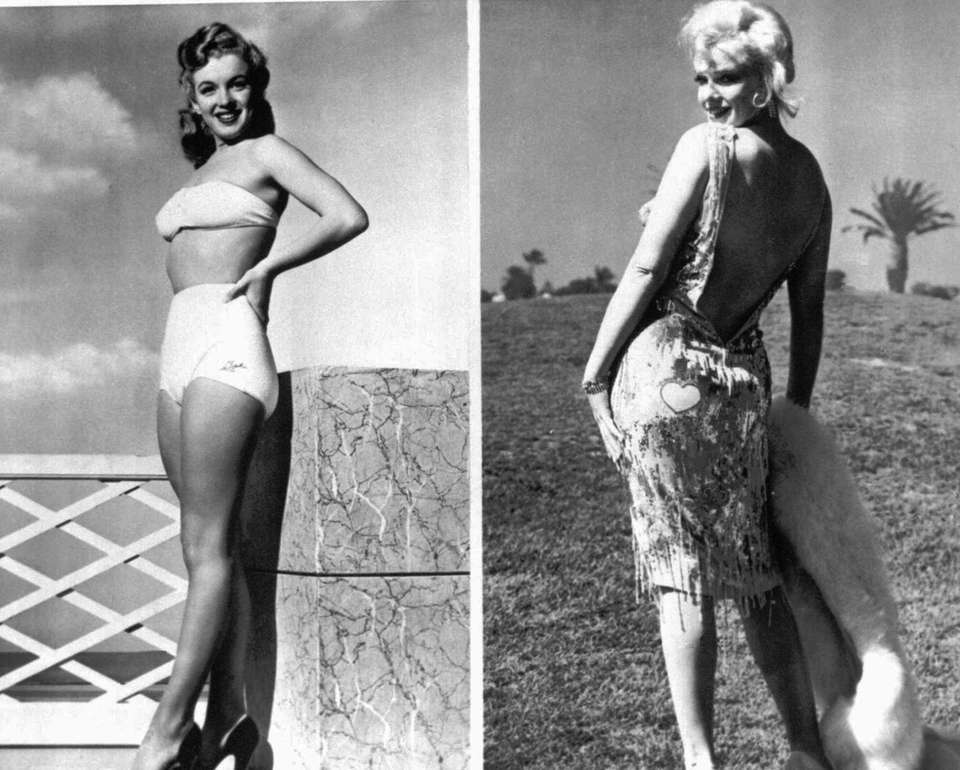 Marilyn Monroe poses in a bathing suit, left,