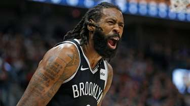 Nets center DeAndre Jordan (6) shouts at an