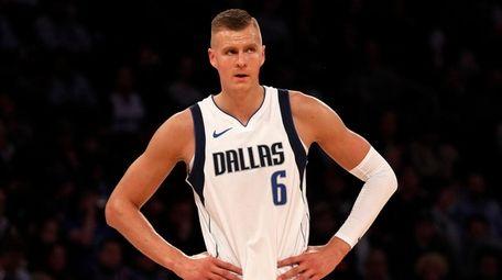 Kristaps Porzingis #6 of the Dallas Mavericks looks