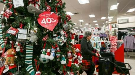 Holiday decorations on sale at the Kohl's store
