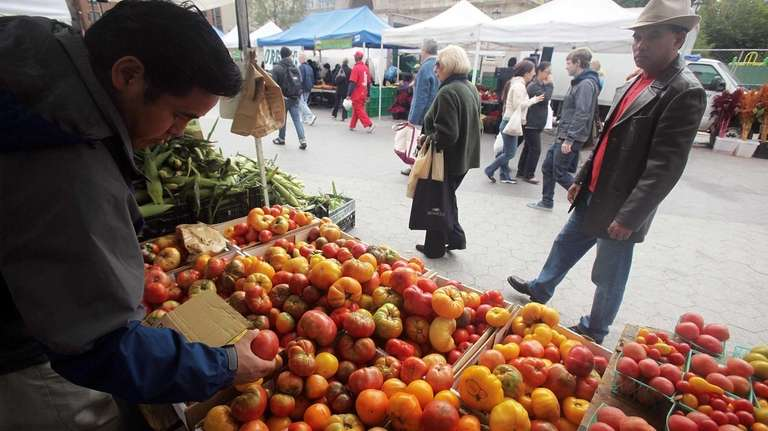 Produce at the Union Square farmers market in