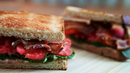 A bacon, lettuce and watermelon sandwich.