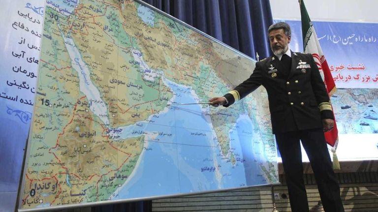 Iran's navy chief Adm. Habibollah Sayyari briefs media