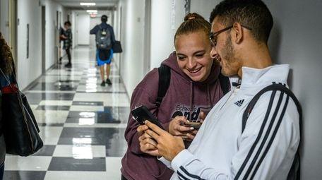 Adelphi University freshmen Rachel Tucci and Gabriel Silva,