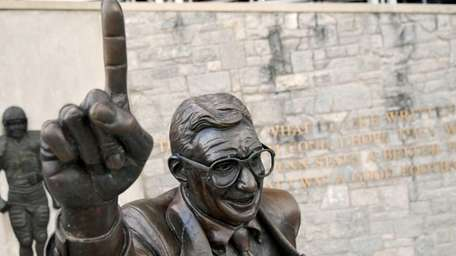 A statue of former Penn State head football