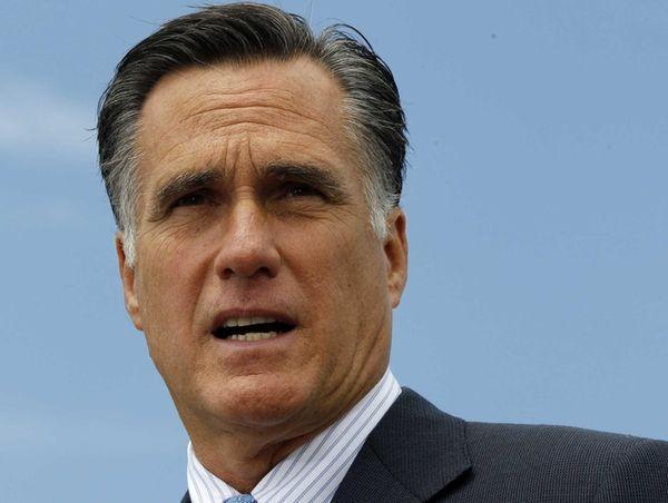 Republican presidential candidate Mitt Romney speaks in Bow,