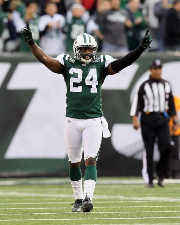 Darrelle Revis celebrates after the Jets took possession