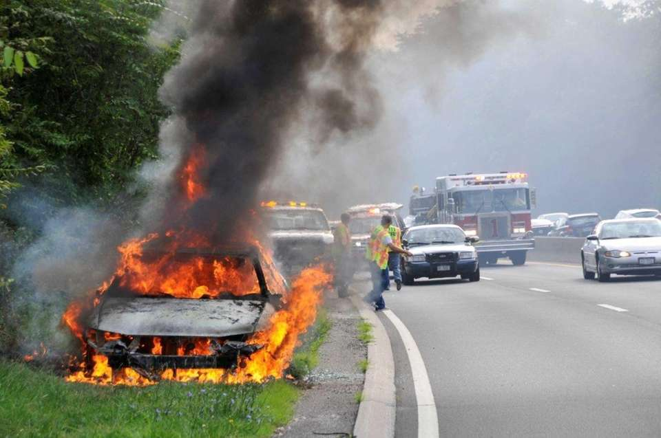 Plainview firefighters extinguished a car fire on the