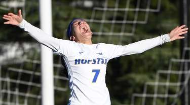 Hofstra's Sabrina Bryan reacts after she scores a