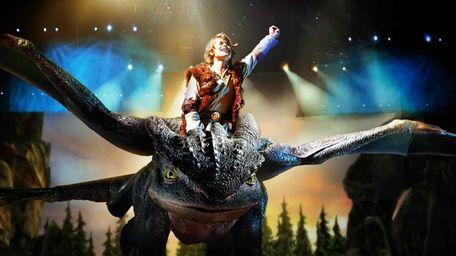 Astrid (Sarah McCreanor) flys through the air during