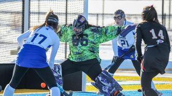 Sachem East's goalkeeper Emily Hyl makes a save
