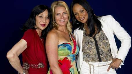 Models China Machado, left, Kim Alexis and Beverly