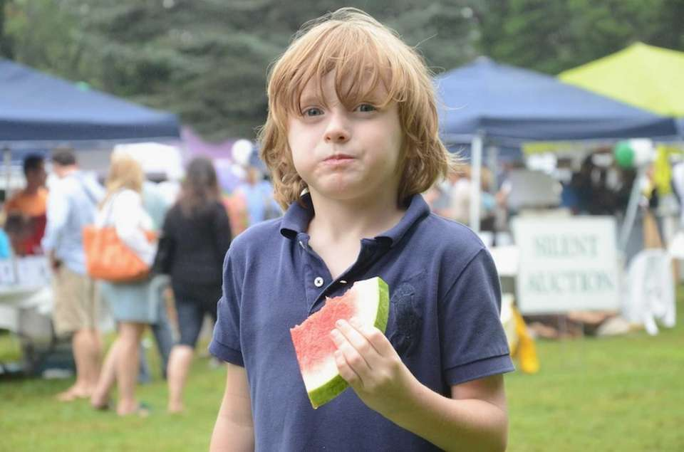 Hudson Kulik, 5, of East Hampton, gobbled down