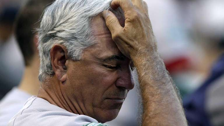 Red Sox manager Bobby Valentine reacts in the