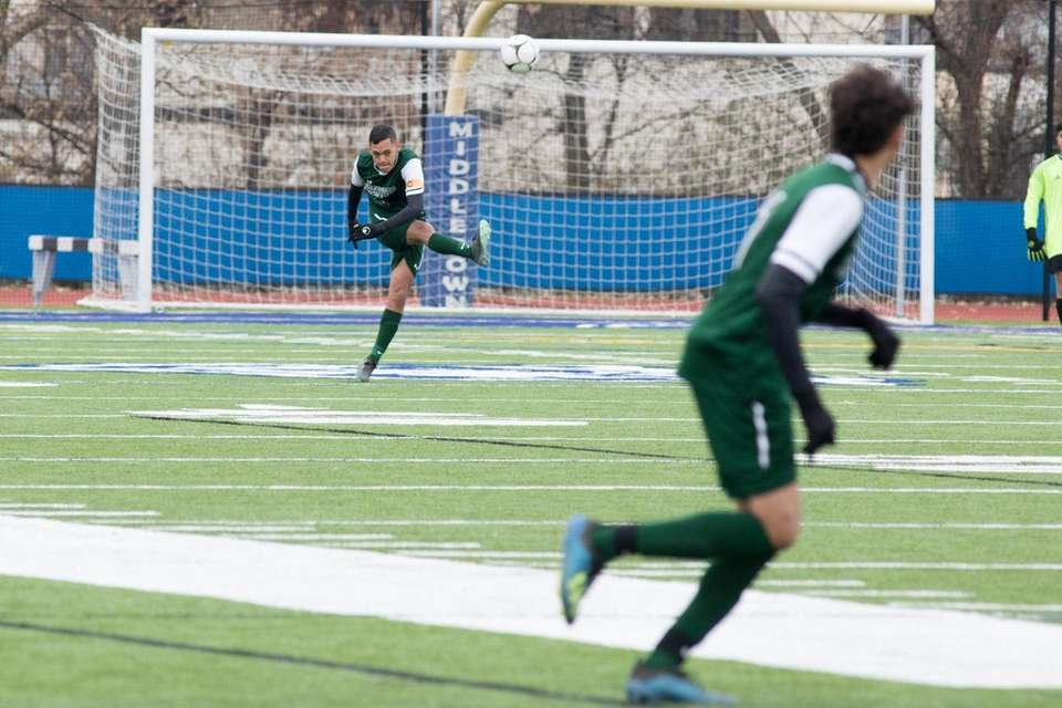 Brentwood's Alex Garcia clears the ball away from