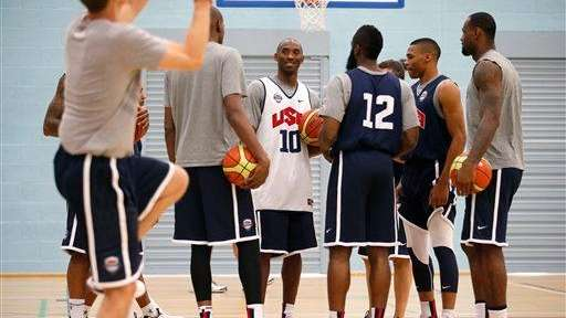 United States players, from right, LeBron James, Russell