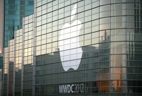 An Apple logo is seen as Apple hosts