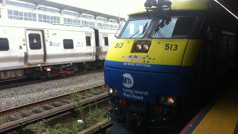 A Long Island Railroad train pulls into the